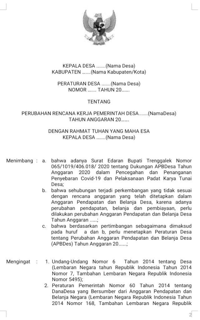 Contoh Dokumen Perdes RKP-Desa Perubahan