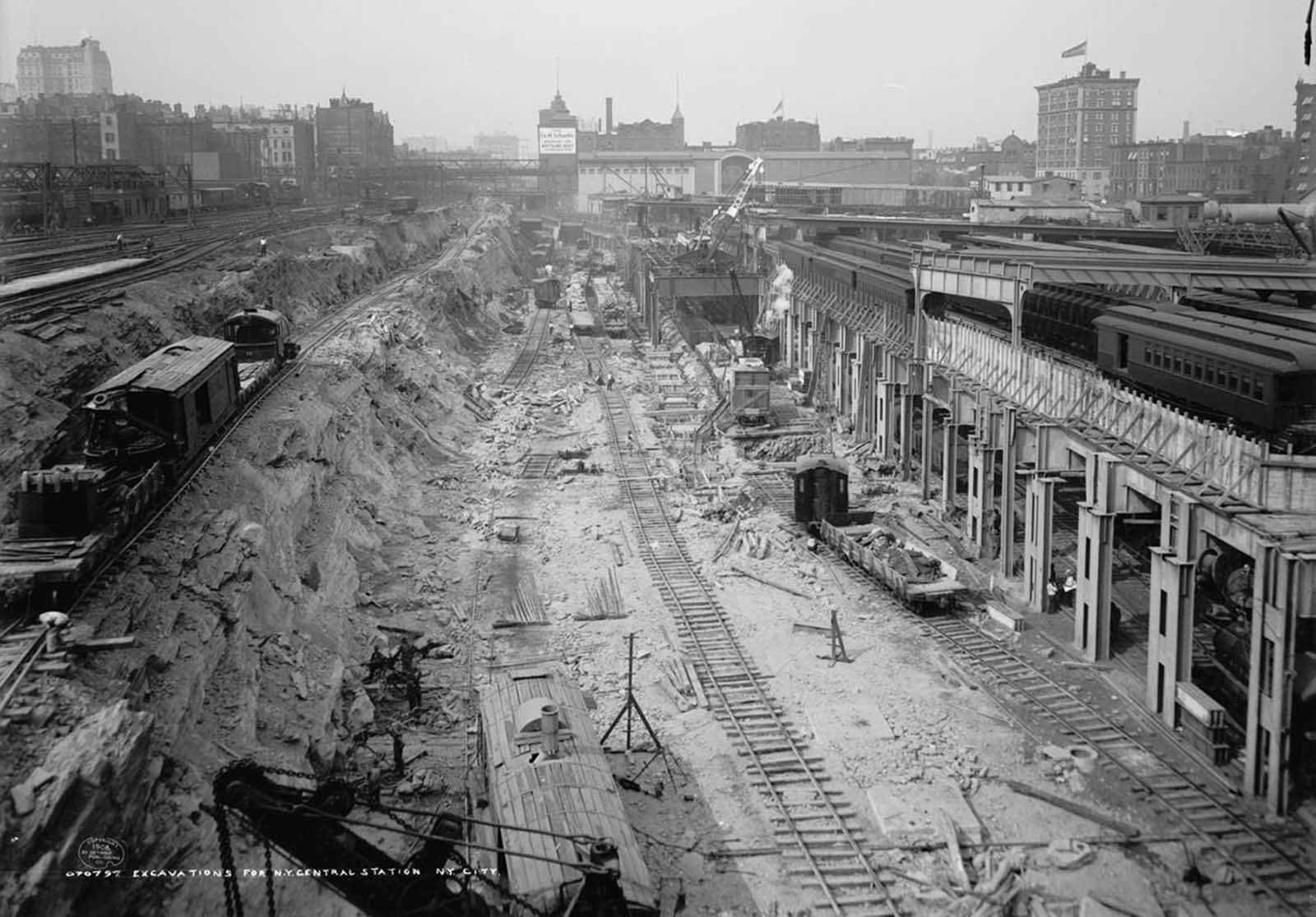 Excavations for the construction of Grand Central Station in New York City, in 1908.