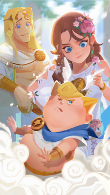 An adorable illustration of Hellen, Apollo, and baby Hermes on a clouded background