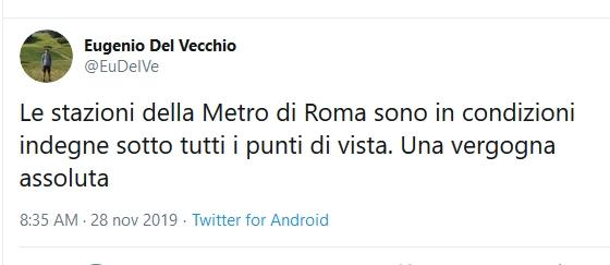 Situazione del trasporto pubblico di Roma di giovedì 28 novembre