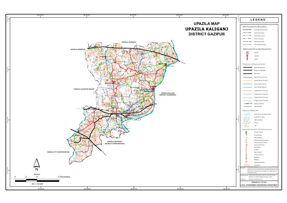 Kaliganj Upazila Map Gazipur  District Bangladesh