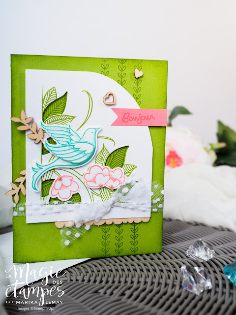 cartes avec Lot Serene garden Stampin'Up! jeu d'étampes et framelits pour la Big shot