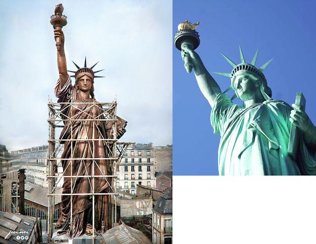 So sánh màu đồng nguyên bản hay mầu xanh lục nhạt  của tượng nữ thần tự do