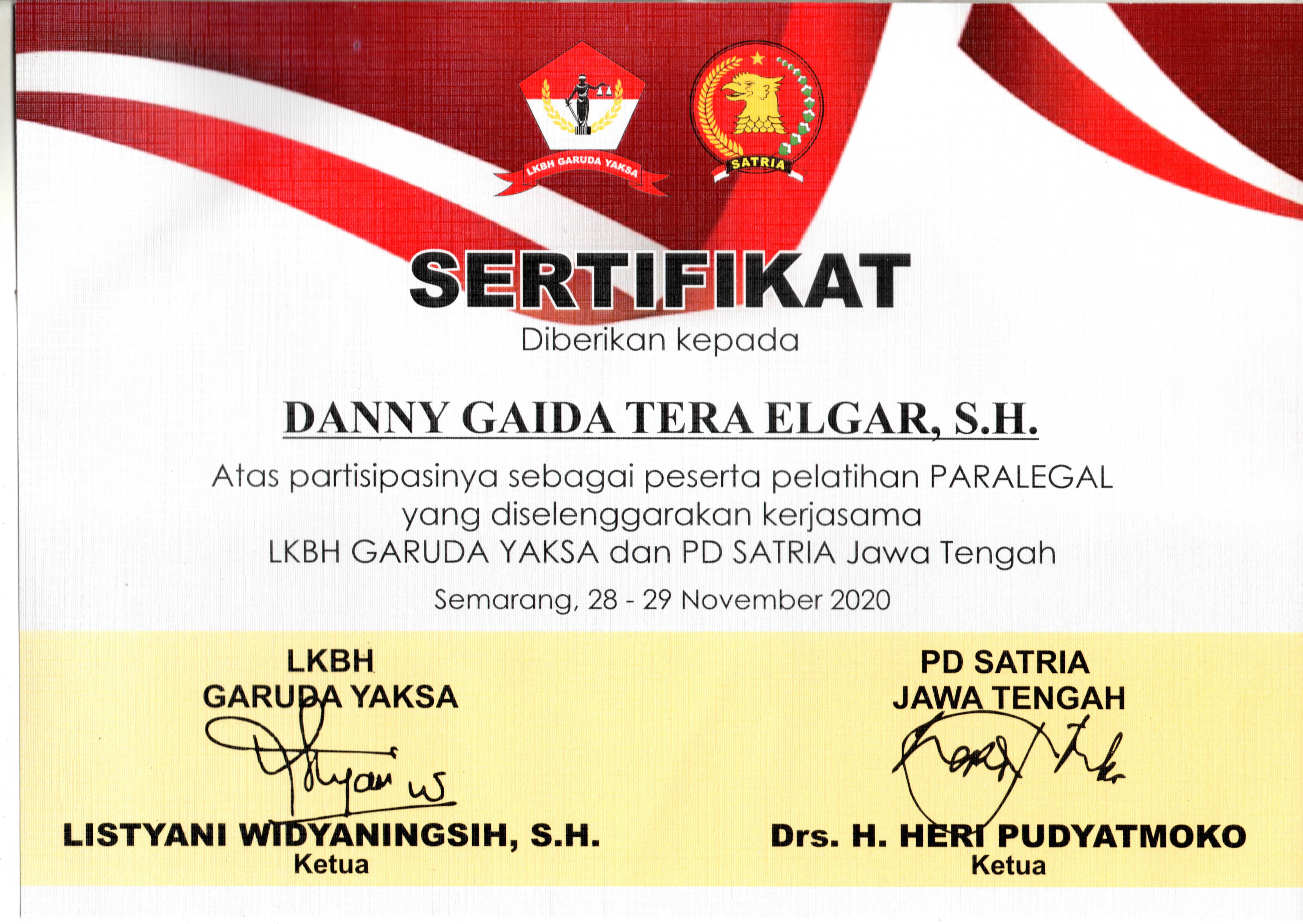 Sertifikat Pelatihan Paralegal Lembaga Konsultasi dan Bantuan Hukum (LKBH) Garuda Yaksa | Pimpinan Daerah (PD) Satuan Relawan Indonesia Raya (SATRIA) Partai Gerindra Provinsi Jawa Tengah