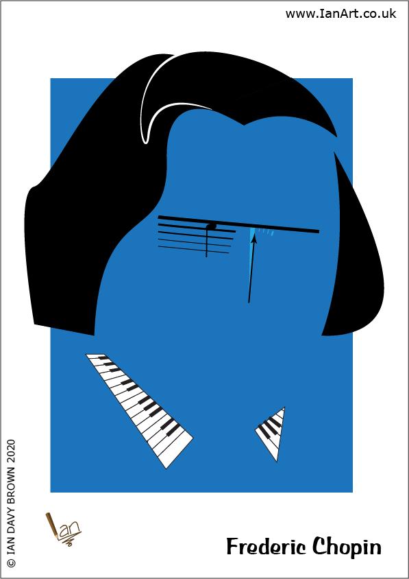 Frederic Chopin Calssical Music composer Caricature Symbolic Stylised cartoon IanArt IDB