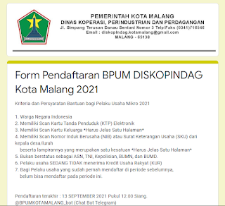 Melakukan pendaftaran BPUM online khusus Kota Malang disini: bit.ly/BPUMKOTAMALANG2021