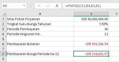 Menghitung cicilan bunga pinjaman dengan excel