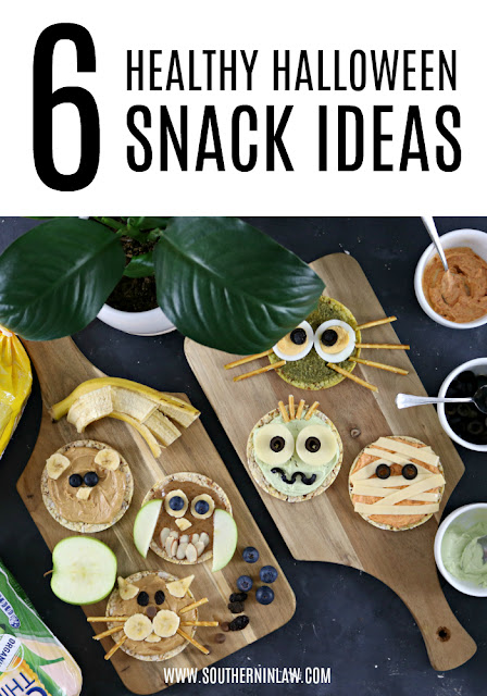 6 Healthy Halloween Snack Recipes - Healthy, gluten free, lunchbox ideas, healthy rice cake topping ideas
