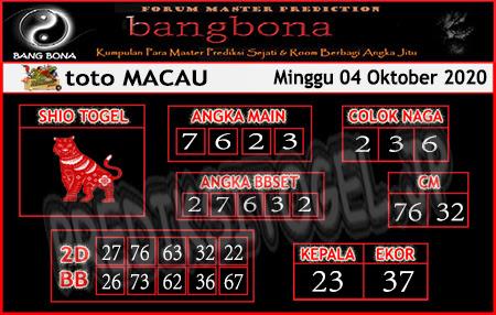 Prediksi Bangbona Toto Macau Minggu 04 Oktober 2020