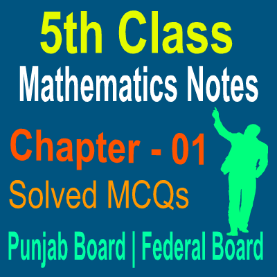 Solved Chapter Wise MCQs Notes In PDF Download For 5th Class Mathematics Students