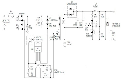 AC to DC 90 Watt Switching Power Adaptor Circuit Diagram