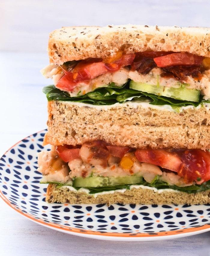 Italian white bean and tomato sanwich