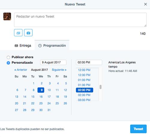Programa tus Tweets con antelación
