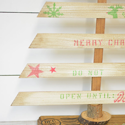 Tabletop Christmas Tree With Louvered Door Slats