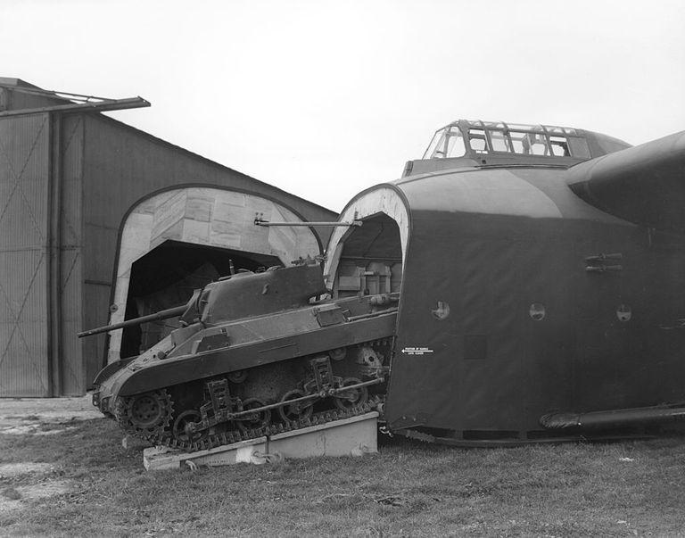 M22 Locust light tank leaving a Hamilcar glider