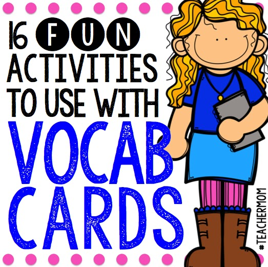 Creative  Easy Games and Activities to use with Flashcards - vocab cards