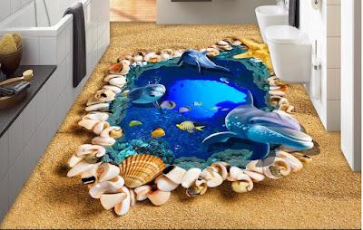 epoxy 3D bathroom flooring designs with dolphin