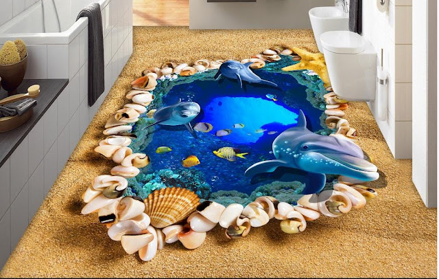epoxy 3D bathroom flooring designs with dolphin