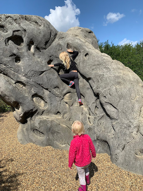 M climb a boulder while Little looks on