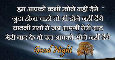 good night sms shayari image