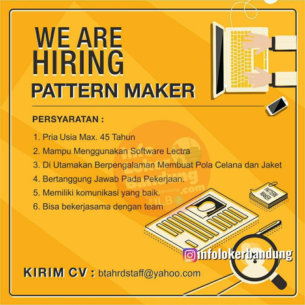 Lowongan Kerja Pattern Maker Bandung Agustus 2020