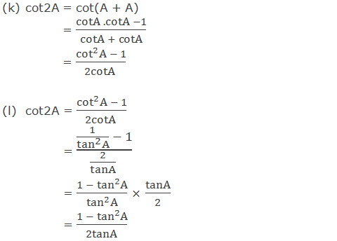 Trigonometric ratios of cot2A in terms of A