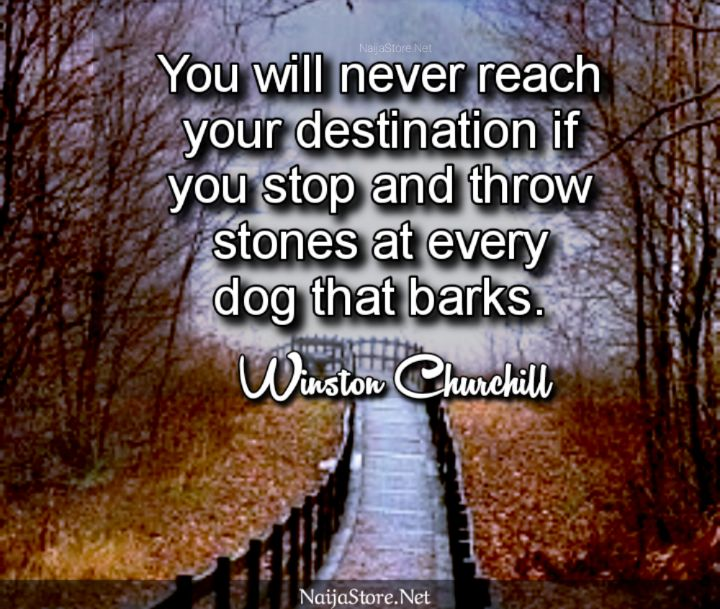 Winston Churchill's Quote: You will never reach your destination if you stop and throw stones at every dog that barks - Inspirational Quotes