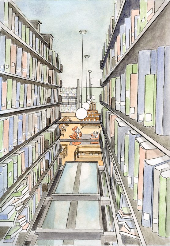 Nessy Designs Mercantile Library Sketch