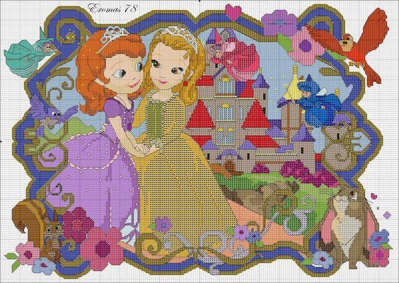 Punto De Cruz Y Otras Manualidades Princesa Sofia Otro Patron De Punto De Cruz En Este Caso Es La Princesa Sofia