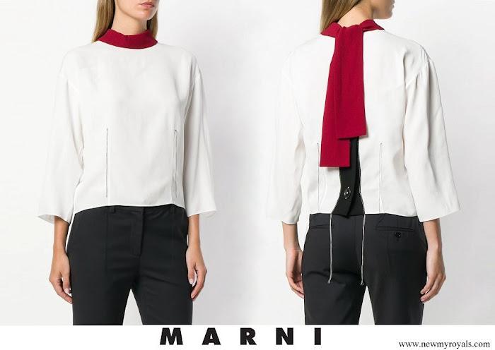 Queen Rania wore Marni colour-block blouse
