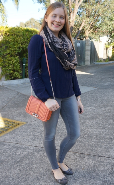 Blogger event outfit jeanswest chana navy blouse grey skinny jeans coral rebecca minkoff love bag | awayfromblue