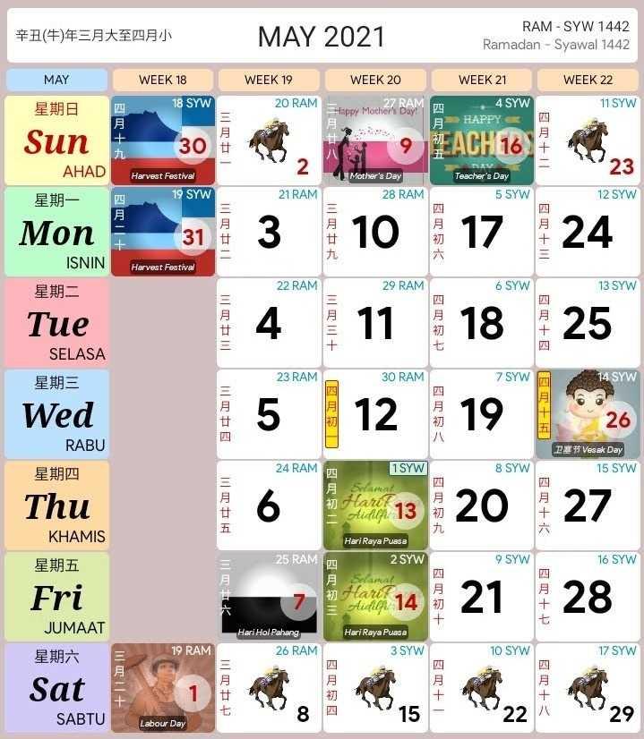 kalendar kuda may 2021