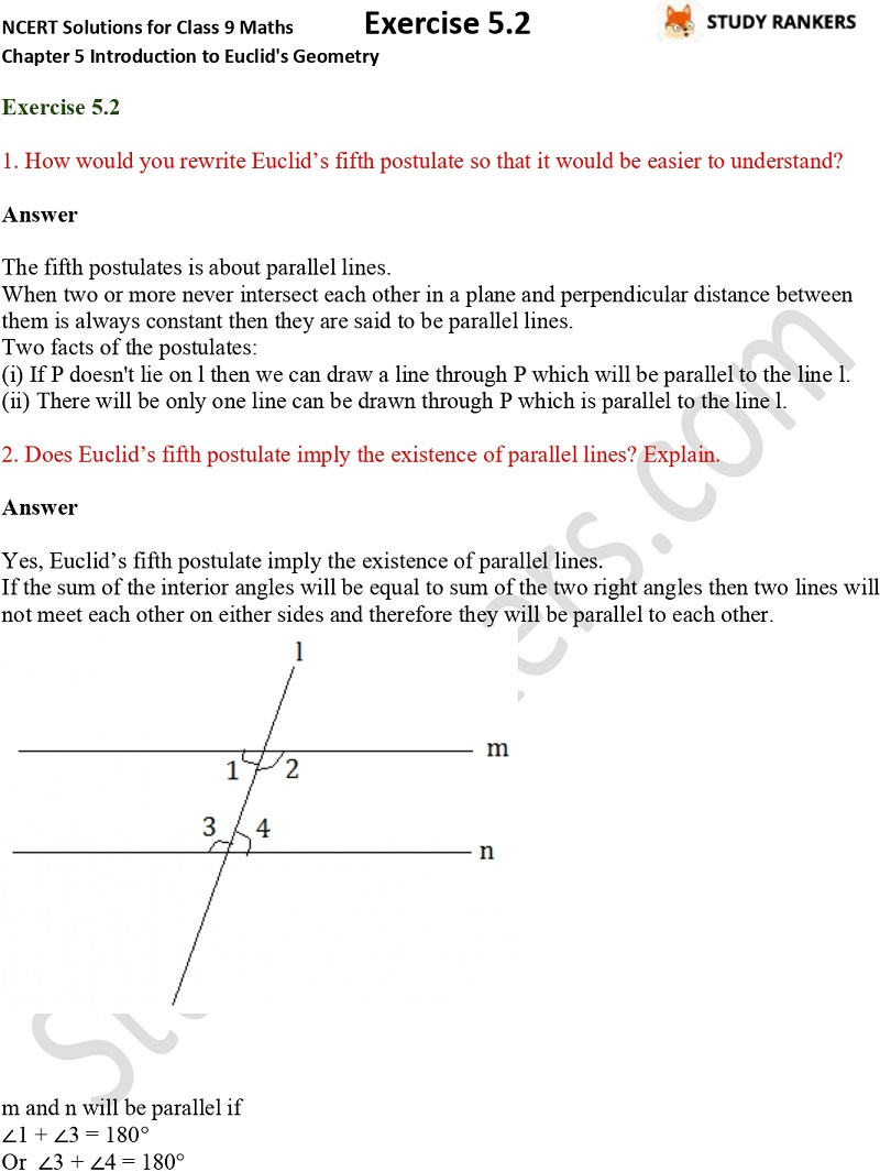NCERT Solutions for Class 9 Maths Chapter 5 Introduction to Euclid's Geometry Exercise 5.2
