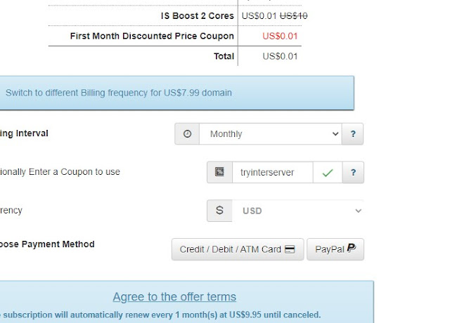 interserver boost 2 and boost 4 monthly price $0.01