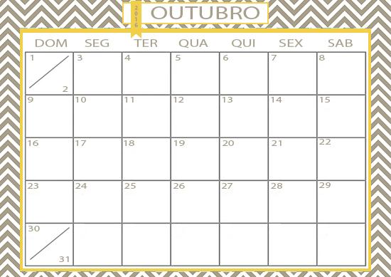 calendário, folhinha, calendário Outubro, folhinha Outubro, acasaehsua, a casa eh sua