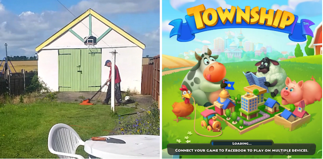 My fella mowing the grass and a screenshot of the loading screen for the mobile game Township