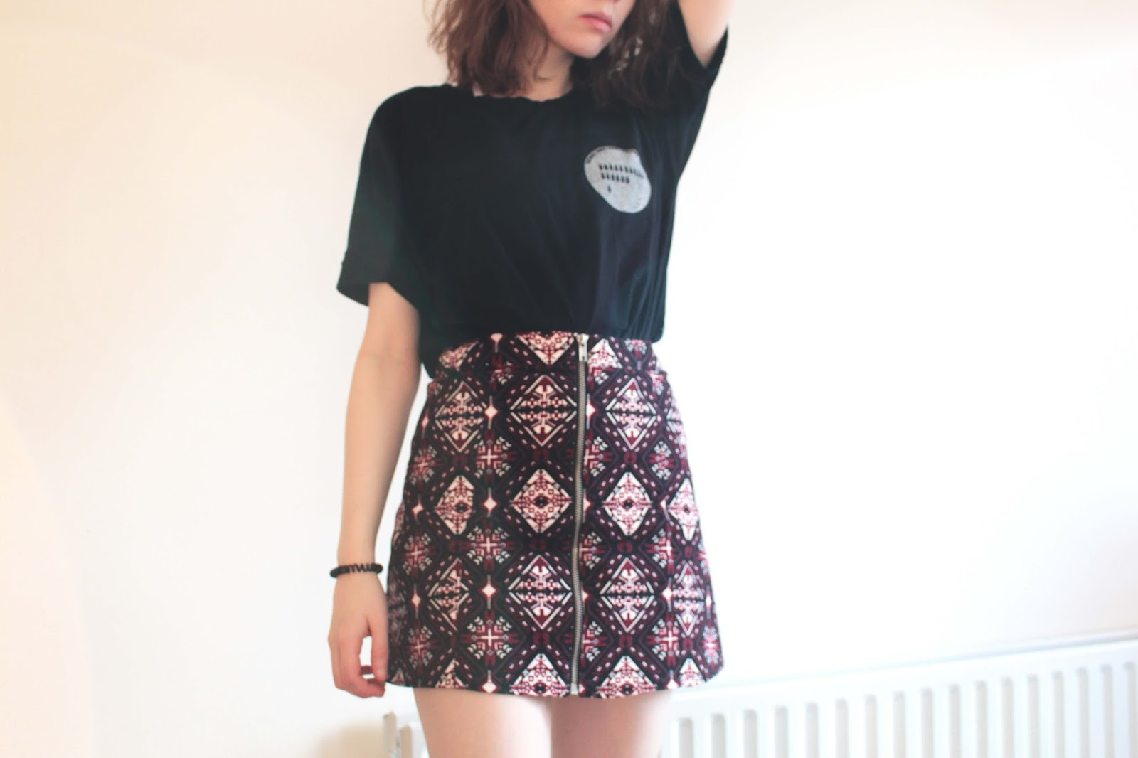h&m a line zip pattern skirt
