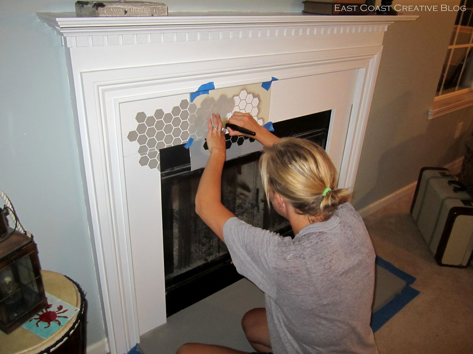 Stenciled Faux Tile Fireplace Tutorial East Coast