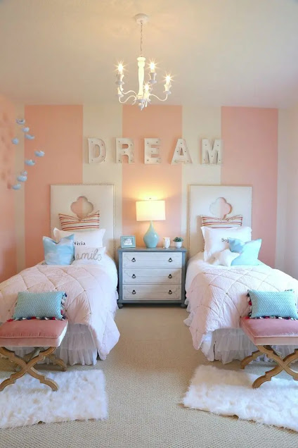 ديكورات غرف نوم اطفال بنات سريرين منفصلين