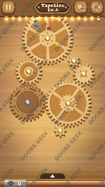 Fix it: Gear Puzzle [TapeLine] Level 4 Solution, Cheats, Walkthrough for Android, iPhone, iPad and iPod