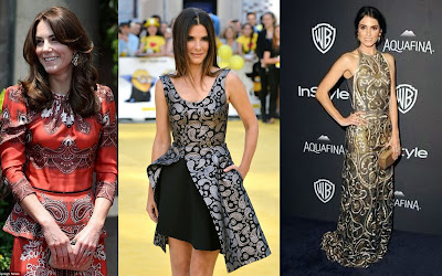 Duchess of Cambridge, Sandra Bullock and Nikki Reed wearing paisley