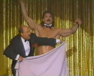 WWF - Slammy Awards 1987 - Mean Gene covers up Rick Rude