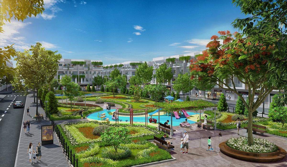 Không gian công viên trung tâm rộng 0,49 ha ngay trong nội khu Him Lam Green Park