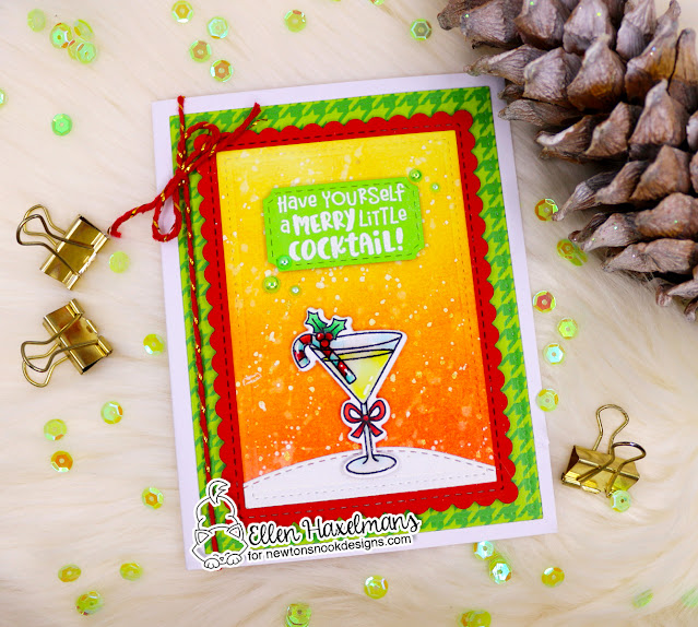 Merry Little Cocktail Card by Ellen Haxelmans | Christmas Cocktails Stamp Set, Meowy Christmas Paper Pad and Framework Die Set by Newton's Nook Designs
