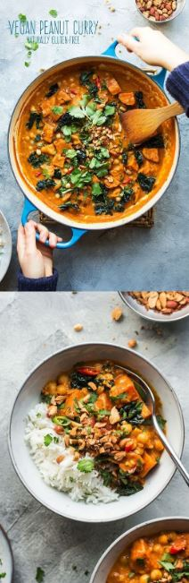 Vegan peanut curry with sweet potato - Lazy Cat Kitchen