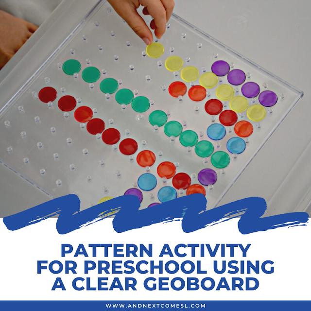 Pattern activity for preschool using a clear geoboard