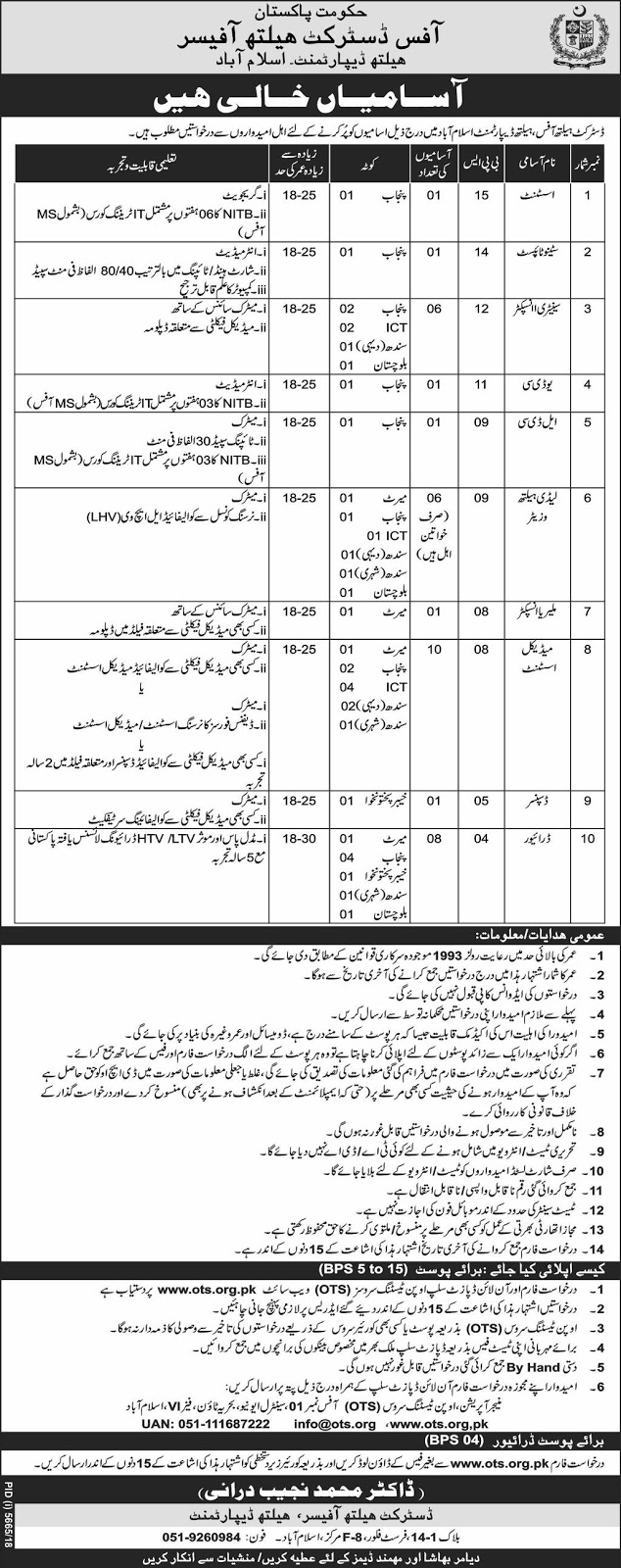 Advertisement for District Health Department Jobs