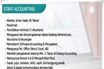 Lowongan Kerja Staff Accounting Halim Qur'an Bandung