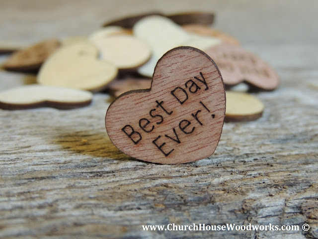 Best Day Ever Wood Heart Confetti For Rustic Weddings, Country Weddings, Barn Weddings, Farm Weddings- Table Decorations