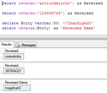 Sql server reverse function
